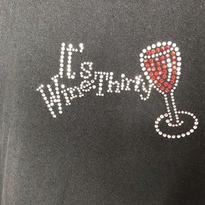 """It's Wine Thirty"" Bling T-Shirt sz XL"